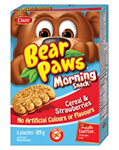 Dare Bear Paws Morning Snack Cereal & Fruit Filled Cookies 189g - Peanut Free - {Imported from Canada}