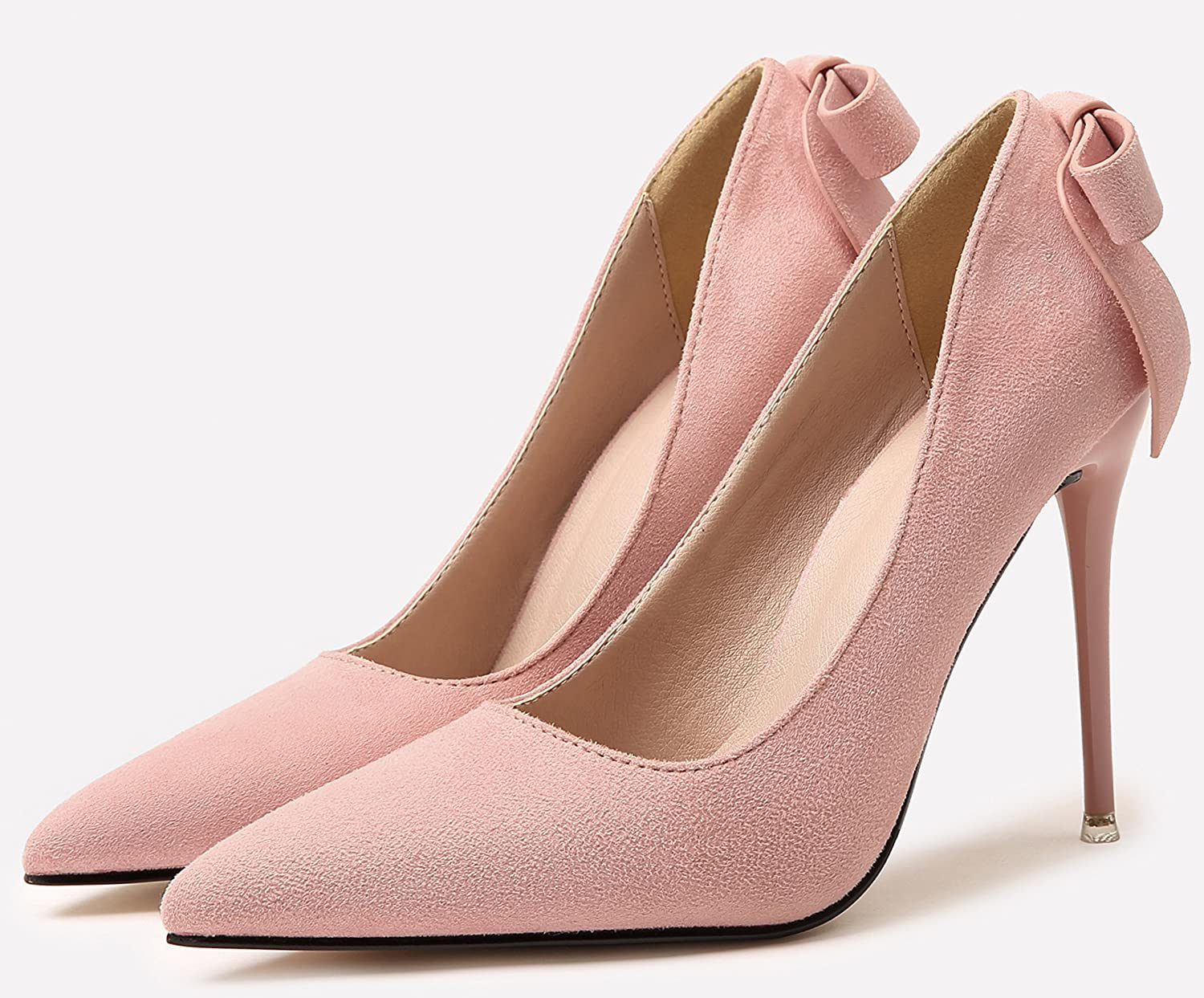 a1591bcd49266 Amazon.com: BIGTREE High Heels Women Suede Shoes Bowknot Party Pumps ...