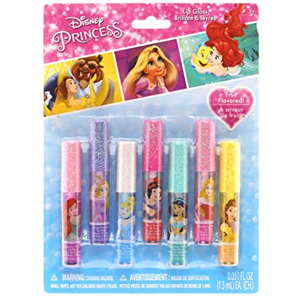 Disney Princess Kids Washable Party Favor Lip Gloss, 7 Flavors include Cotton Candy, Strawberry, Raspberry, Bubble Gum, Grape, Peach and Cherry