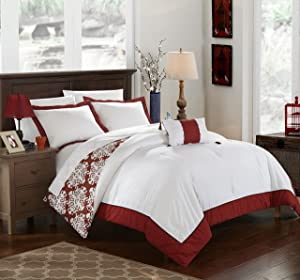 Chic Home 4 Piece Trina Marsala and White Reversible Medallion Printed Plush Hotel Collection Queen Duvet Cover Set