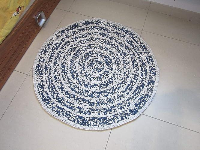 Tapis chambre bébé, tapis au crochet bleu et écru, tapis rond pour ...