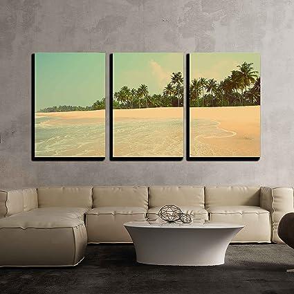 Amazon.com: wall26 - 3 Piece Canvas Wall Art - beautiful beach ...