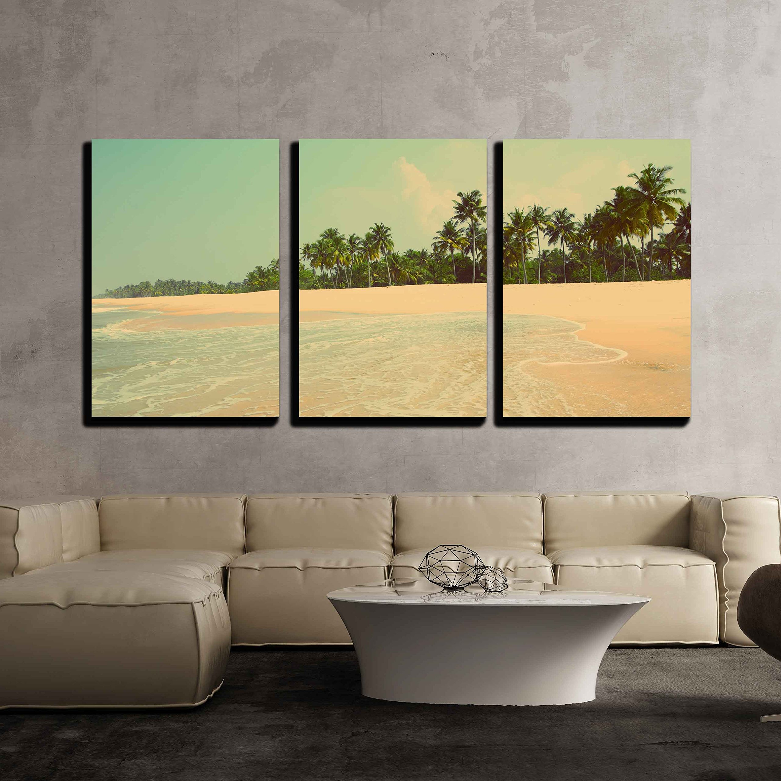 wall26 - 3 Piece Canvas Wall Art - beautiful beach landscape in India - vintage retro style - Modern Home Decor Stretched and Framed Ready to Hang - 16''x24''x3 Panels