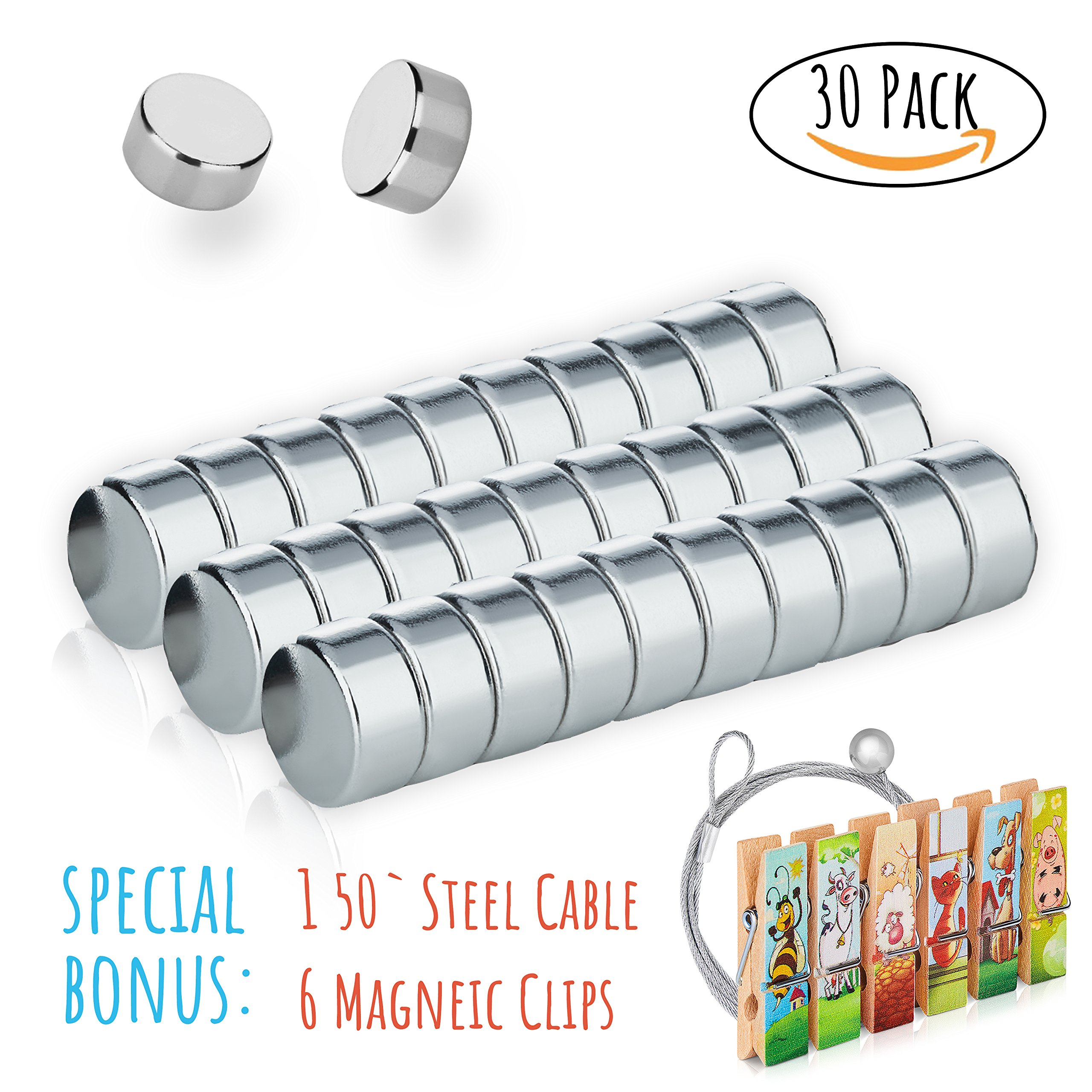 Refrigerator Magnets Set, 30 Small Round Magnets | BONUS - 6 Decorative Magnetic Clips + Unique Photo Display Cable. Use it On Whiteboards, Fridge, Office, Locker Or Classroom By Treats&Smiles by Treats&Smiles