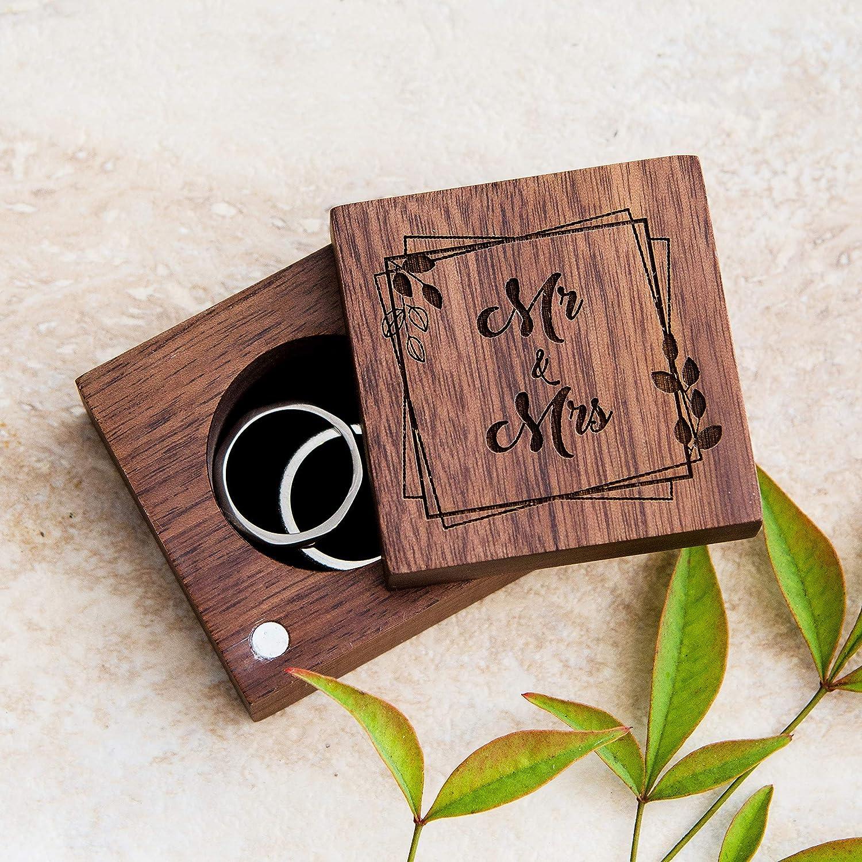 /& Mrs Personalized Magnetic Rustic Wooden Ring Box \u2022 Mr \u2022 Engagement Ring Box \u2022 Men/'s Wedding Band Box \u2022 Women/'s Wedding Ring Box