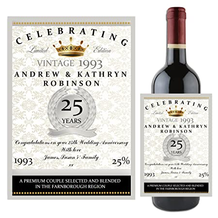 Personalised 1993 Silver 25th Wedding Anniversary Winechampagne
