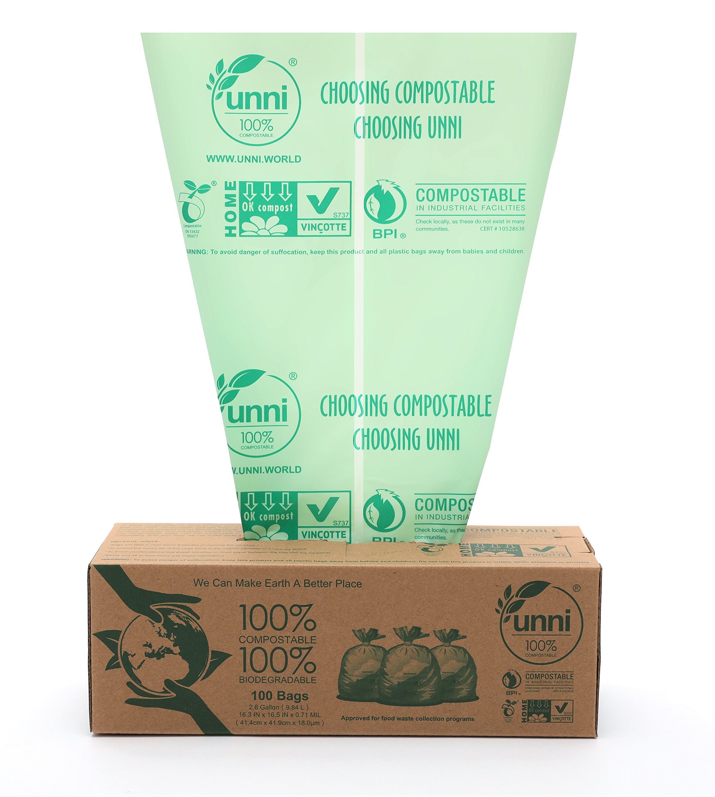 UNNI ASTM6400 Certified 100% Compostable Bags, 2.6 Gallon, 100 count, Extra Thick 0.71 Mils, Small Kitchen Trash Bag,Biodegradable Food Scraps Yard Waste Bag, US BPI and European VINCOTTE Certificated