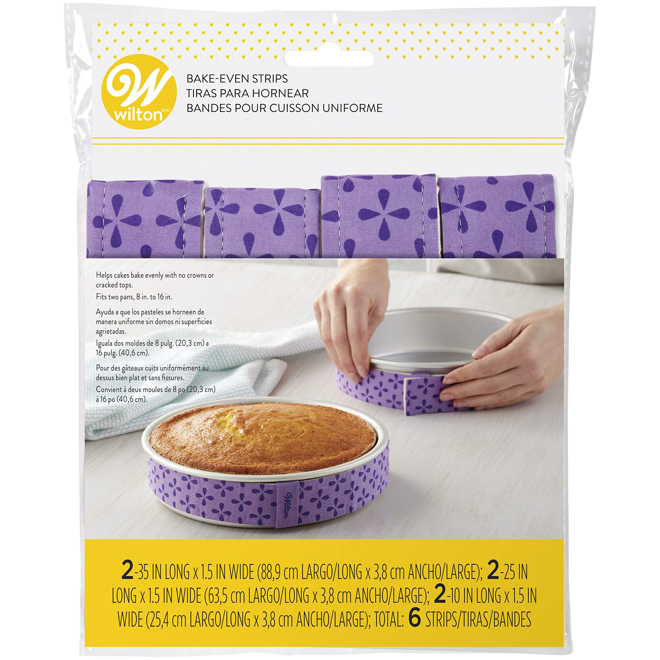 Wilton Bake-Even Strips, Takes Baking to the Next Level, Keeps Cakes More Level and Prevents Crowning with Cleaner Edges for a Professional Look and Easier Decorating, 6-Piece by Wilton