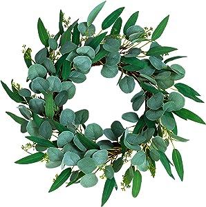 """NANTA 20"""" Eucalyptus Wreath for Front Door Green Wreath Farmhouse Decor Front Door Wreath for All Seasons Greenery Wreath for Indoor Outdoor"""