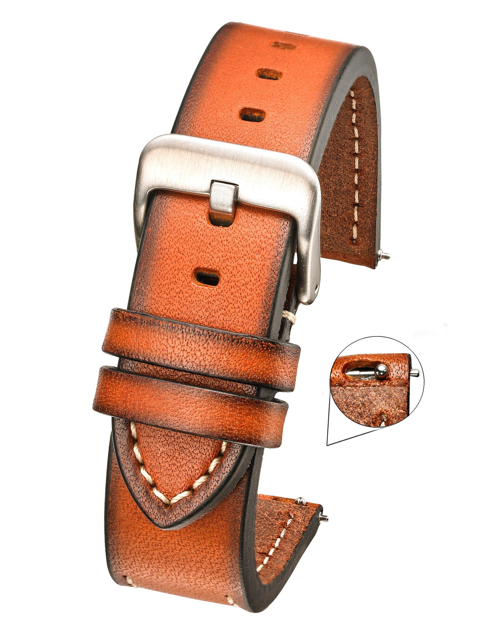 Hand Painted Classic Thick Genuine Leather Watch Band with Quick Release Spring Bars -Full Grain Leather Watch Strap 22mm - Brown