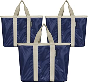 CleverMade SnapBasket Reusable Grocery Shopping Bags with Reinforced Bottom and Zippered Storage Pocket, Collapsible Durable Premium Utility Totes, 20L Size, Navy/Cream, 3 Pack (7100-4029-01103PK)