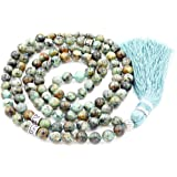 Gemstone Mala Beads Necklace, Mala Bracelet, Buddha necklace, Hand Knotted Mala