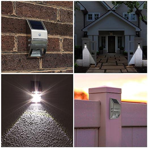 AMOS 2 LED Luz Solar Brillante de Seguridad Recargable de Energía Solar con PIR Sensor de Movimiento Luz Exterior Resistente al Agua Lámpara de Pared Jardín ...