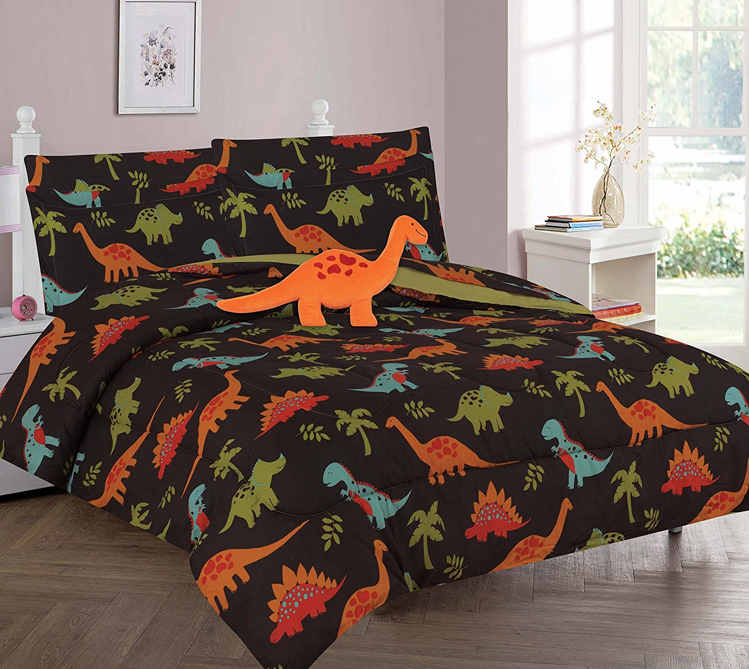 Twin & Full 6 Pcs or 8 Pcs Comforter/ Coverlet / Bed in Bag Set with Toy (Full, Dinosaur Brown