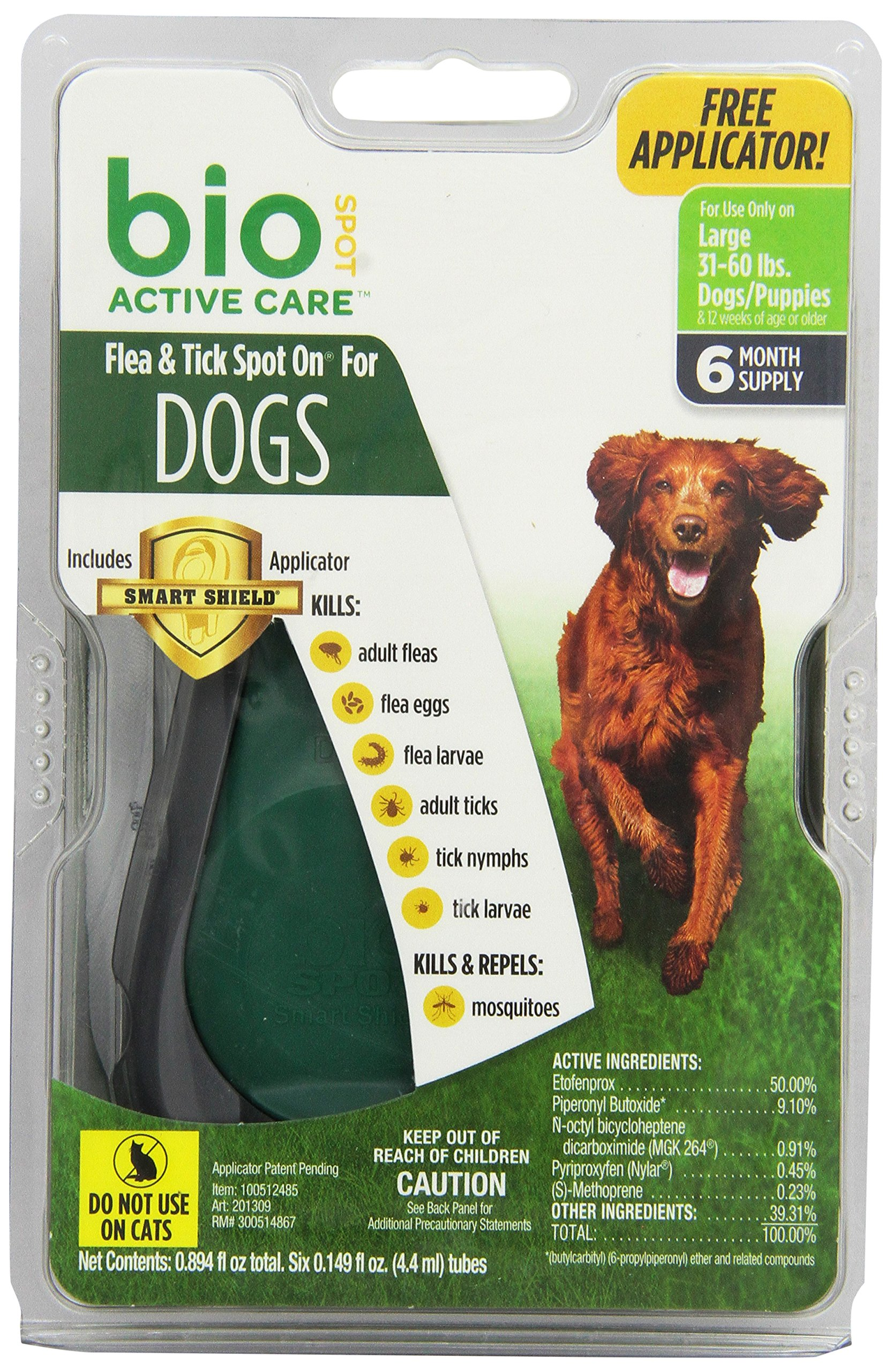 Bio Spot Active Care Flea & Tick Spot On With Applicator for Large Dogs (31-60 lbs.) 6 Month Supply