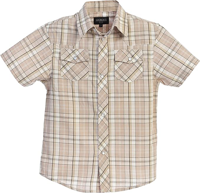 Boys Toddler Kids Casual Short Sleeve Western Pearl Snap Button Plaid Shirt 4-16 Years