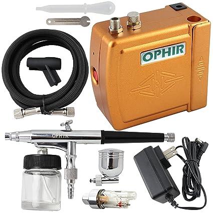 Ophir portátil Mini compresor de aire doble acción aerógrafo para Hobby Adhesivo de cosméticos