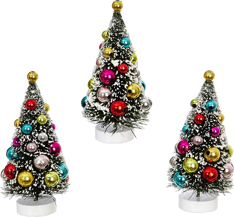 Amazon Com Raz Imports Mini Decorated Christmas Tree Figurines Set Of 3 Kitchen Dining