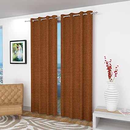 Fresh From Loom Jacquard Eyelet Velvet 4 X 5 Feet Windows Curtains Brown Set Of 2 Pieces
