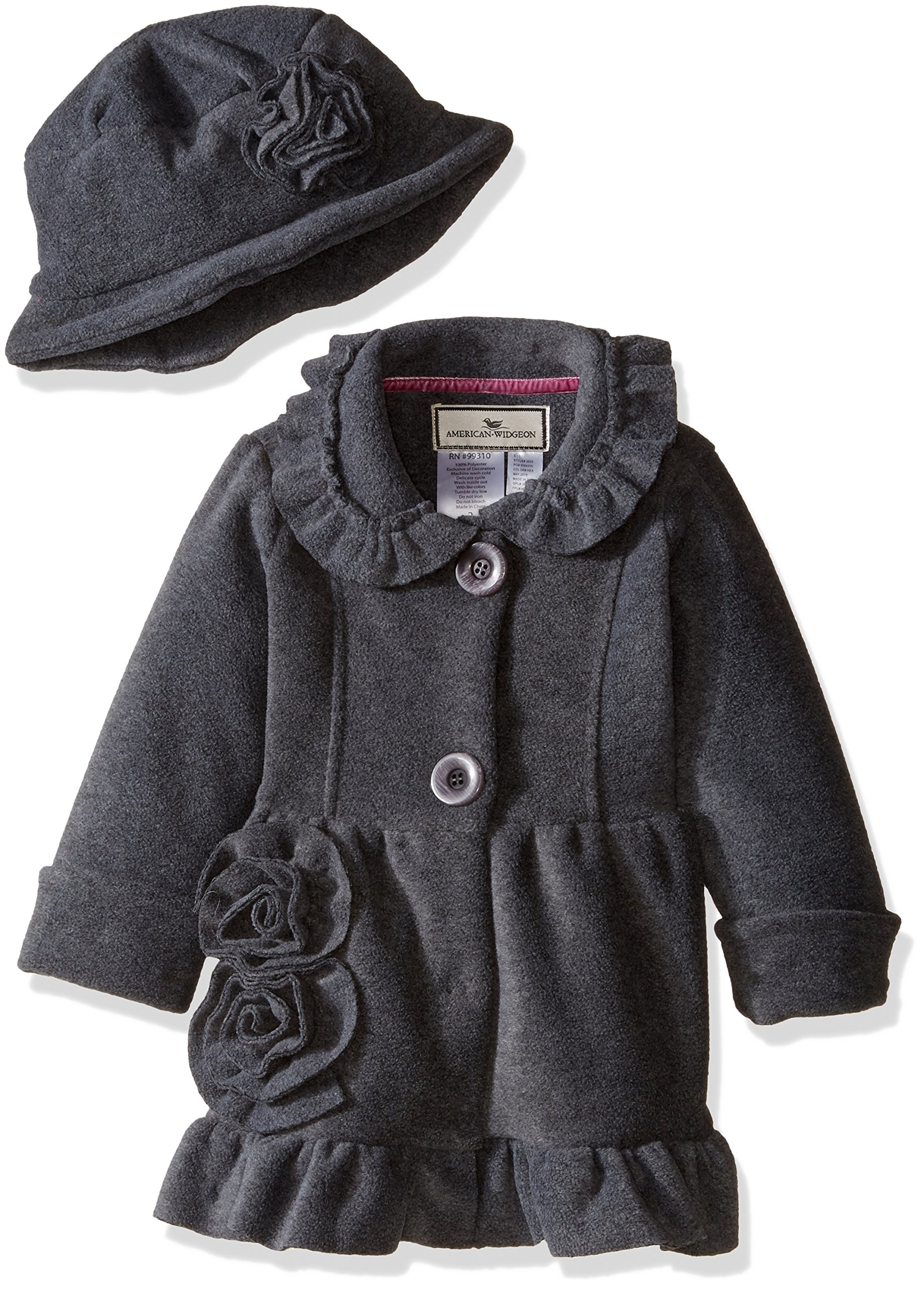 Widgeon Little Girls' Toddler Button Front Bell Coat with Hat, Heather Grey, 2T