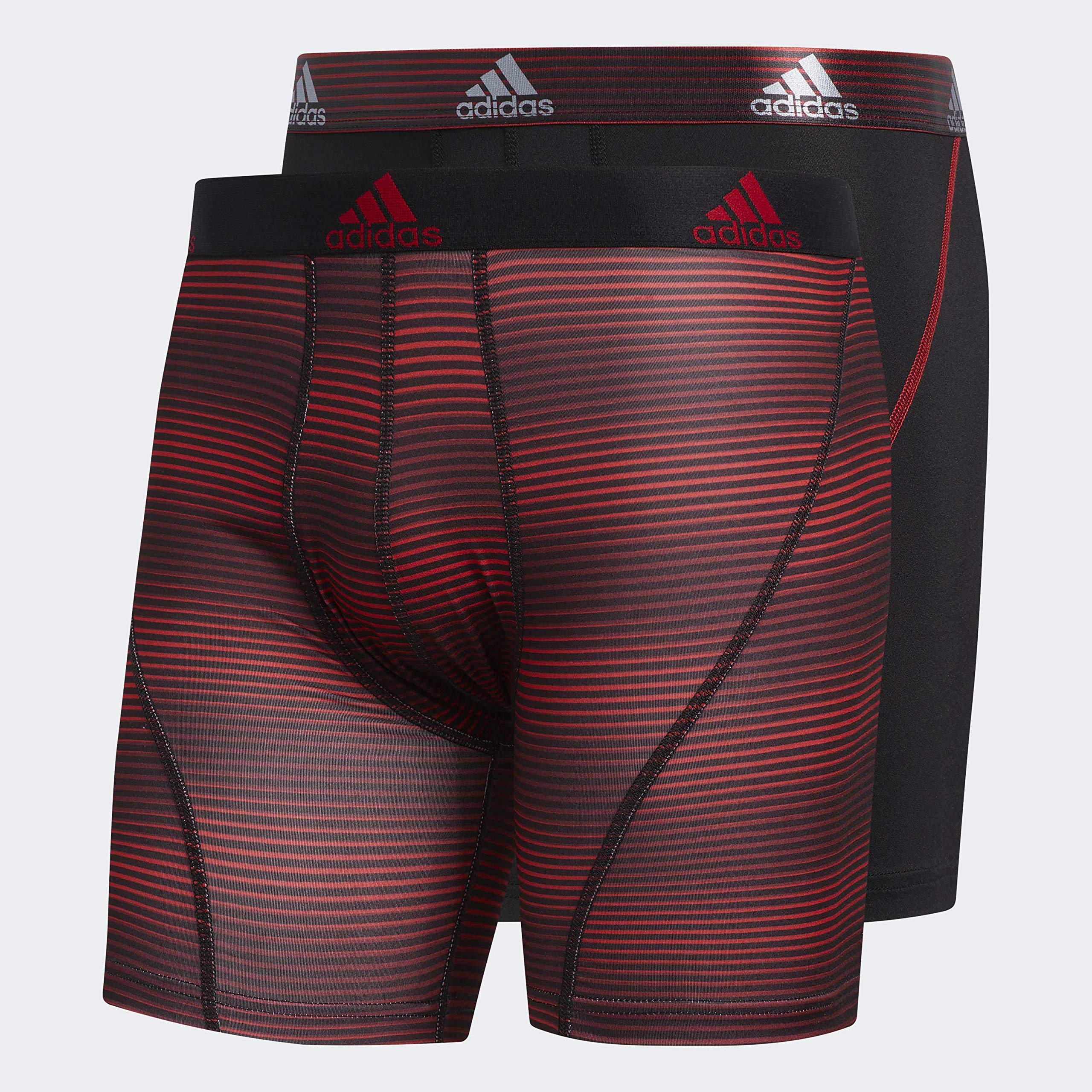 adidas Men's Sport Performance Boxer Briefs Underwear (2 Pack), Sundown Scarlet Black/Scarlet, SMALL by adidas