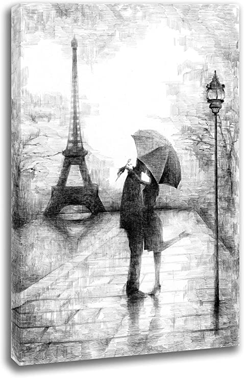 Amazon Com Intalence Art Unique Romantic Paris Wall Decor 12x18in Canvas Wall Art Eiffel Tower Print On Canvas Modern Home And Office Decoration Premium Giclee Print Gallery Wrap Black And White Easy To
