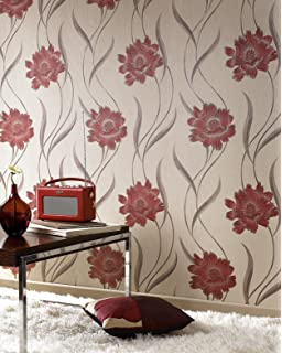 Super Fresco Poppy Floral Red Beige Wallpaper