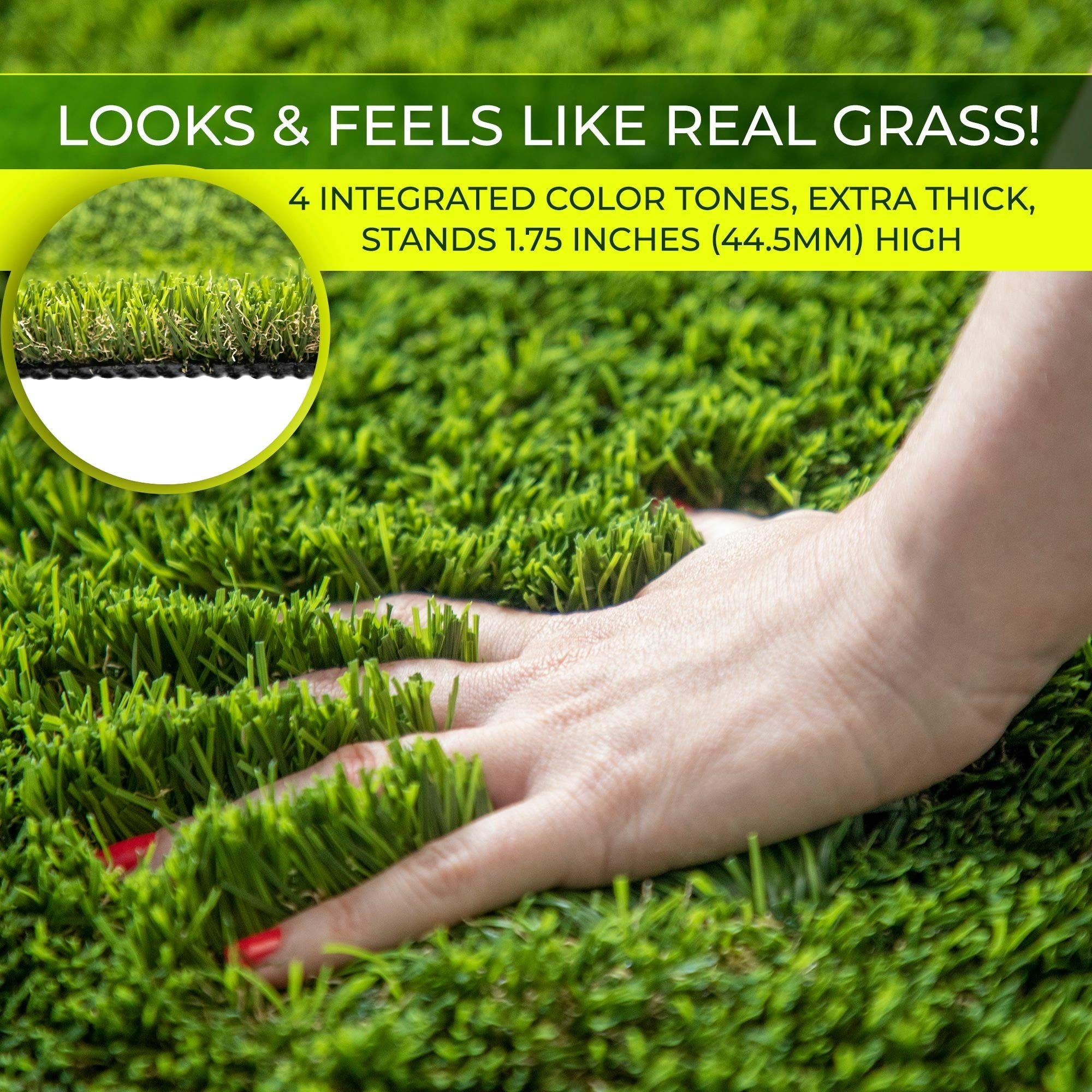 Imozel Premium Outdoor Artificial Lawn and Turf Grass 7.5'x10' - Decorative Synthetic Astroturf Grass Mats - Realistic Looking and Feeling, Weatherproof - for Landscaping, Homes, Businesses, Dogs