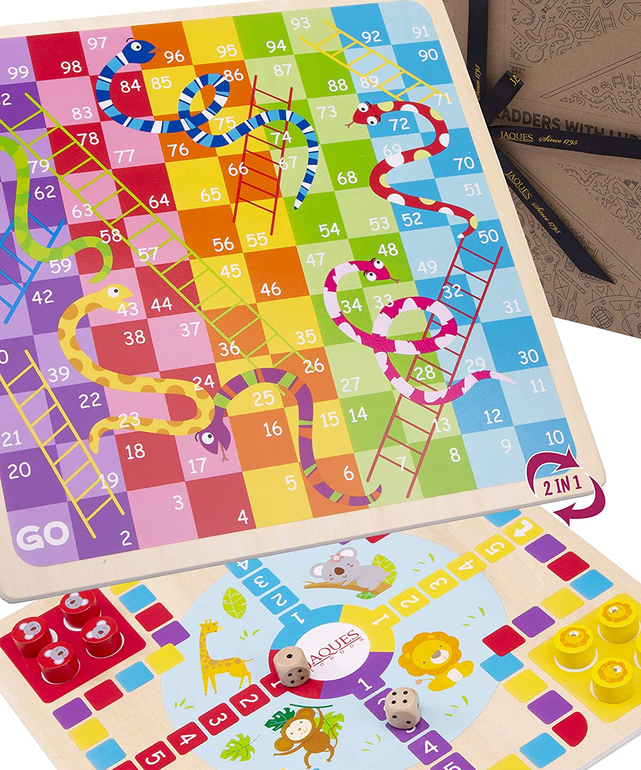 Jaques of London Snakes and Ladders Game with Ludo Deluxe Kids Board Games 2 in 1 and Premium Montessori Wooden Toys for 3 4 5 year olds Since 1795