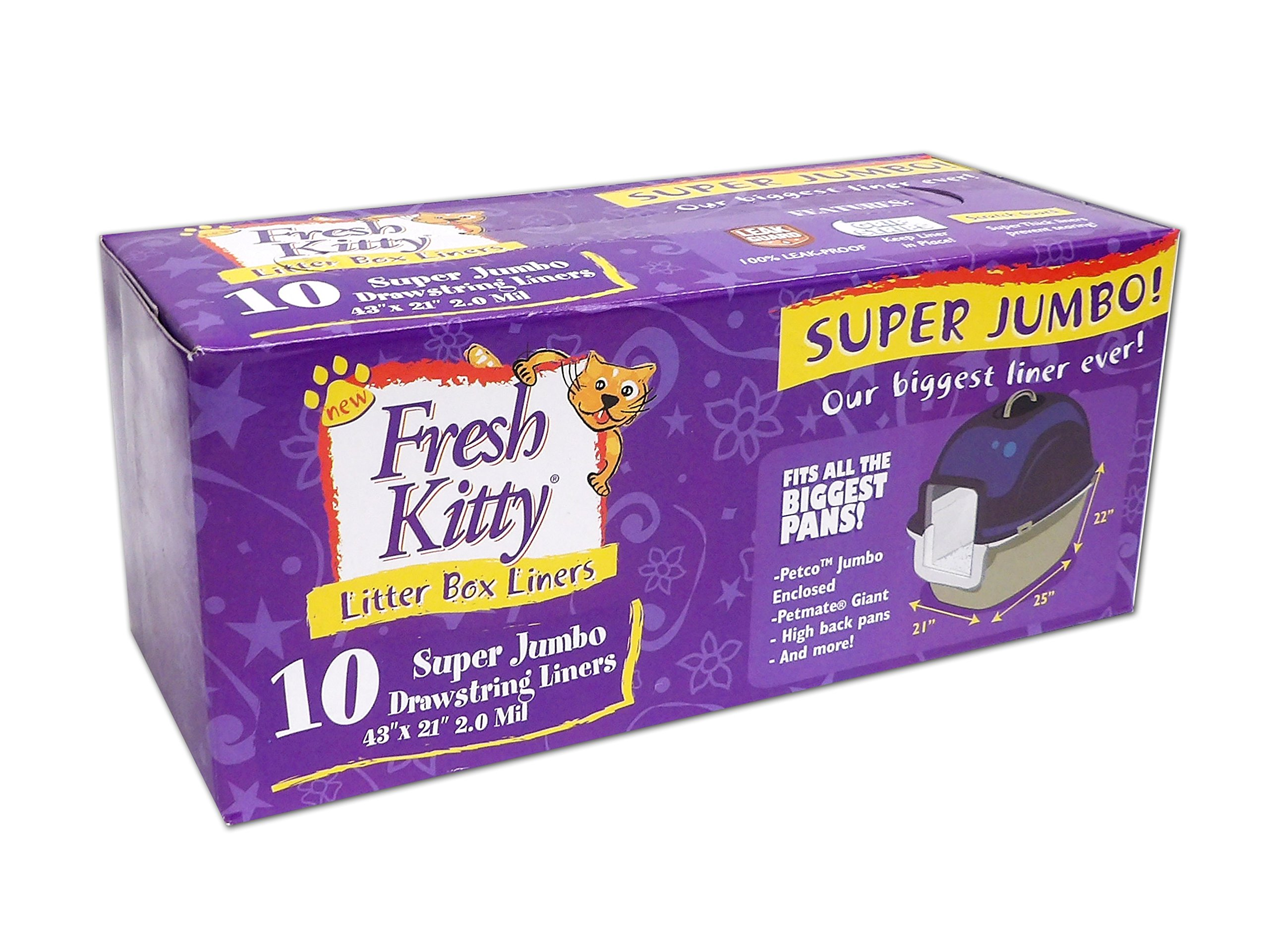 Fresh Kitty Super Thick, Durable, Easy Clean Up Jumbo Drawstring Scented Litter Pan Box Liners, Bags for Pet Cats, 10 ct by Fresh Kitty