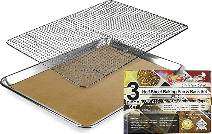 KITCHENATICS Baking Sheet with Cooling Rack: Half Aluminum Cookie Pan Tray with Stainless Steel Wire and Roasting Rack - Racks for Oven Cooking - FREE BONUS of 100 Pcs. Pre-Cut, Brown Parchment Paper