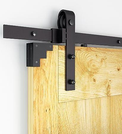 AiHom 183cm Rustic Black Barn Door Hardware Cabinet Wood Sliding Door Track