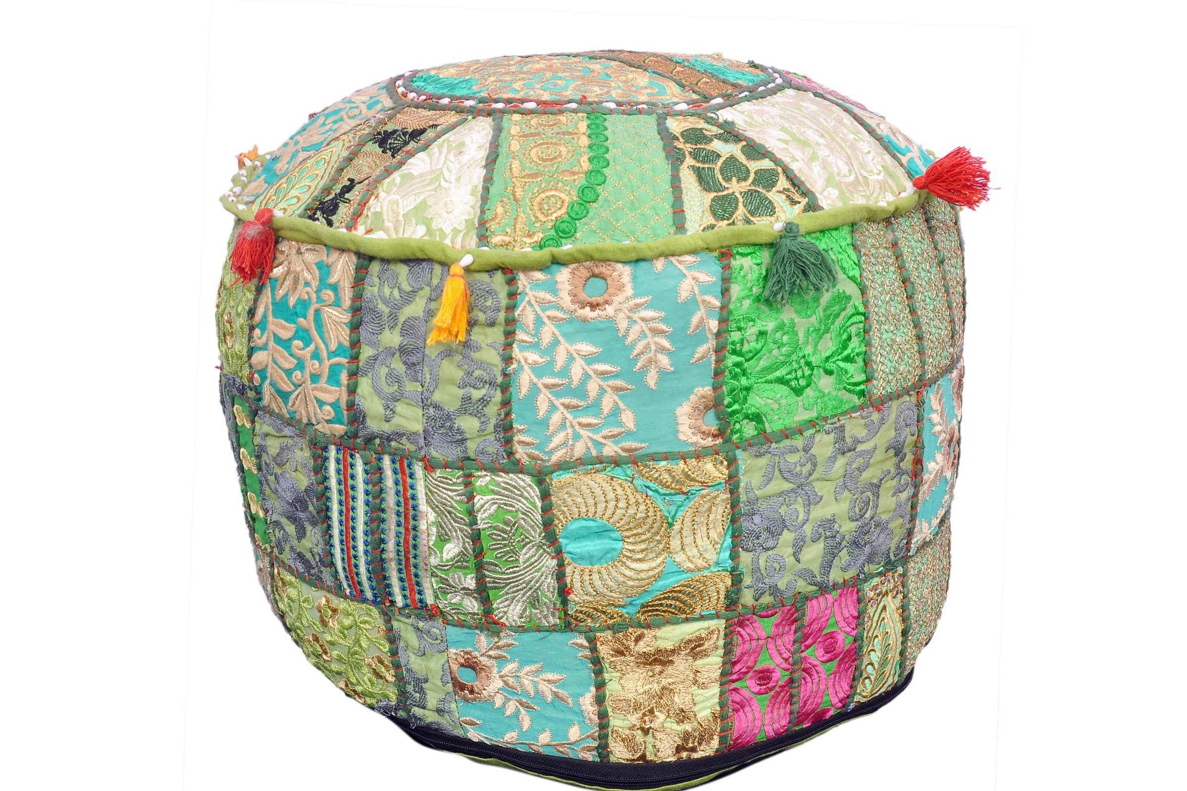 Beautiful Green Color Ruond Ottoman Indian Patchwork Pouffe ,Indian Traditional Home Decorative Handmade Cotton Ottoman Patchwork Foot Stool- Floor Cushion Decor ,Embroidered Chair Cover by Marudhara Fashion