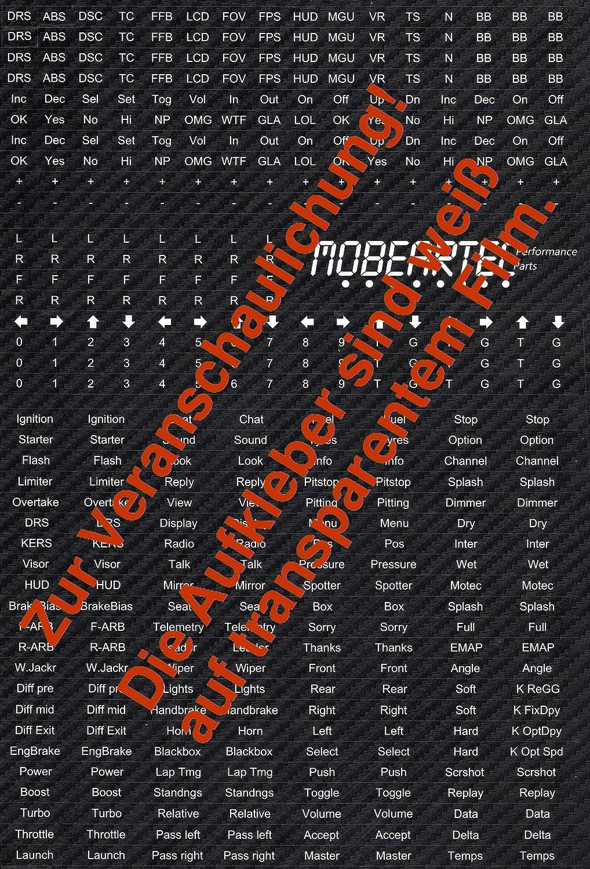 Mobeartec Simracing Aufkleber für Buttonbox  Sticker-Bogen für iRacing,  Assetto Corsa, Raceroom Racing Experience, Project Cars 2, Rfactor 2, Dirt