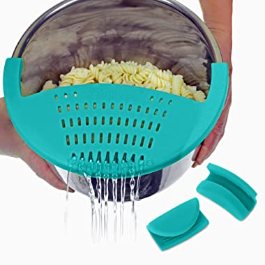 Salbree Silicone Snap-On Strainer for Vegetables & Ground Beef fits the Instant Pot Accessories Inner Pan with Small Silicone Mitts Included (6 Quart, Aqua)
