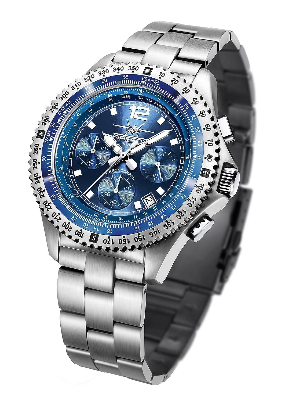 FIREFOX FIGHTER FFS05-103 sunray blau Chronograph Herrenuhr Armbanduhr massiv Edelstahl Sicherheitsfaltschließe