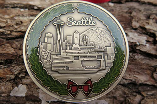 10 5 18 DKC-1600-B Seattle Christmas Ornament Custom Hand Engraved Minted in Antique Brass 1.75 Diameter 1.8 oz Mint Series