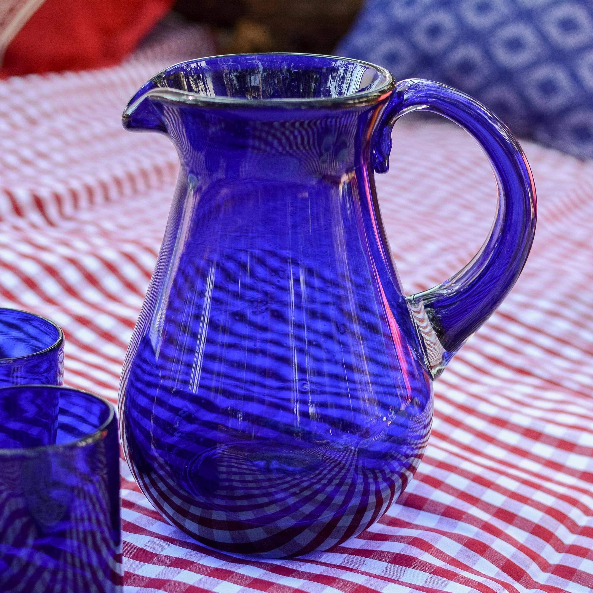 NOVICA Large Blue Hand Blown Glass Pitcher for Water, Margaritas, Lemonade, 82 oz, 'Cobalt Charm' by NOVICA (Image #4)