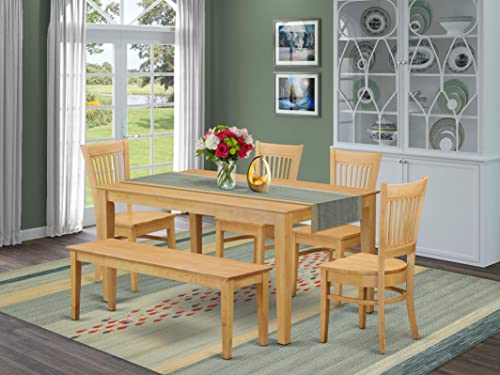 East West Furniture Rectangular Dining Table Set 6 Piece
