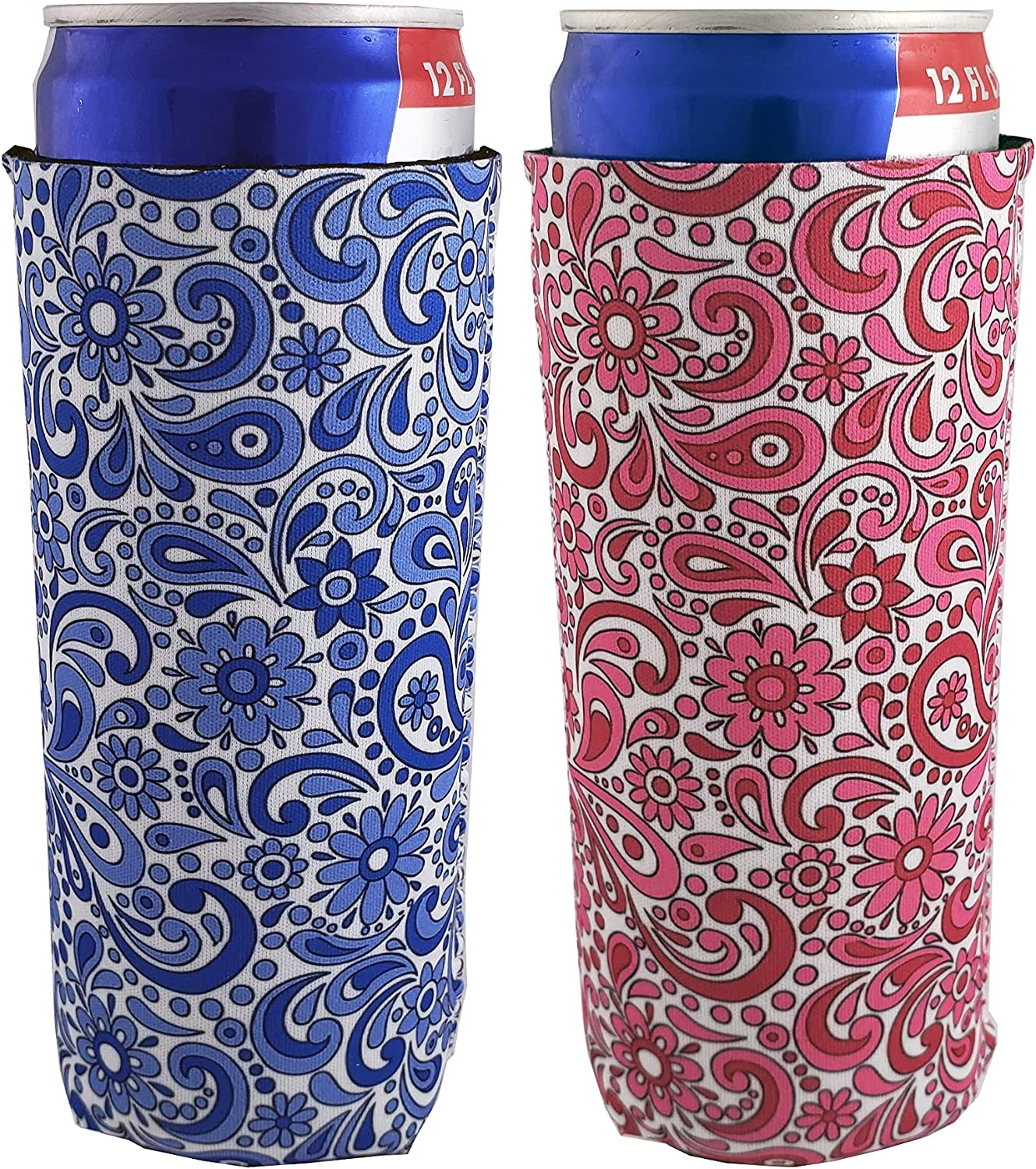 Cozose Slim Can Cooler Sleeves for White Claw & Hard Seltzer, Tall Can Insulator Coolies, Insulated Drink Holders, 2-pack, Floral