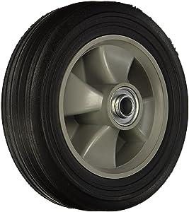 "Wesco 150697 8"" Diameter Poly Hub Solid Rubber Wheel, 300-lb. Capacity, 2"" Tread Width, 5/8"" Bore, 2-1/4"" Hub Diameter"