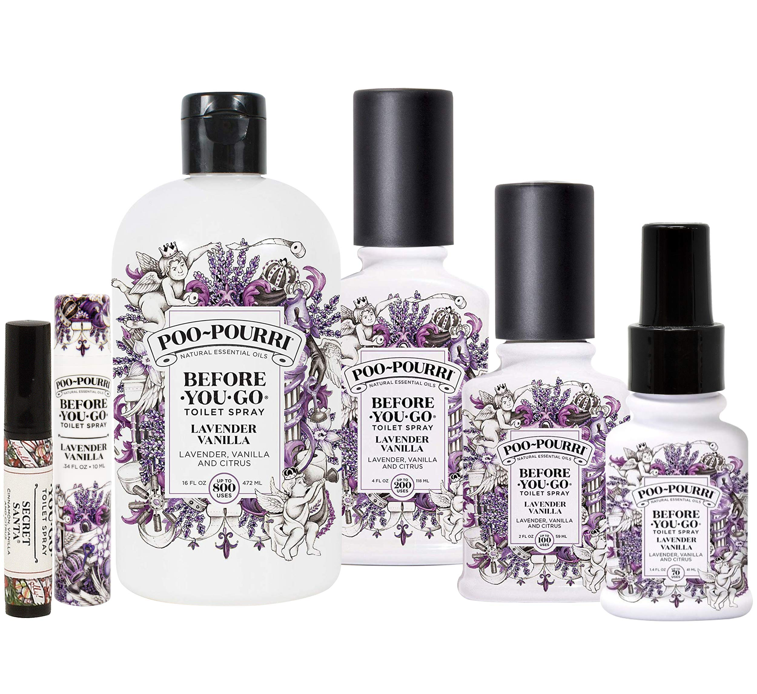 Poo-Pourri Lavender Vanilla Collection Includes 16 Ounce Refill, 4 Ounce, 2 Ounce, 1.4 Ounce, 10mL and Secret Santa Travel Size Spritzer by Poo-Pourri