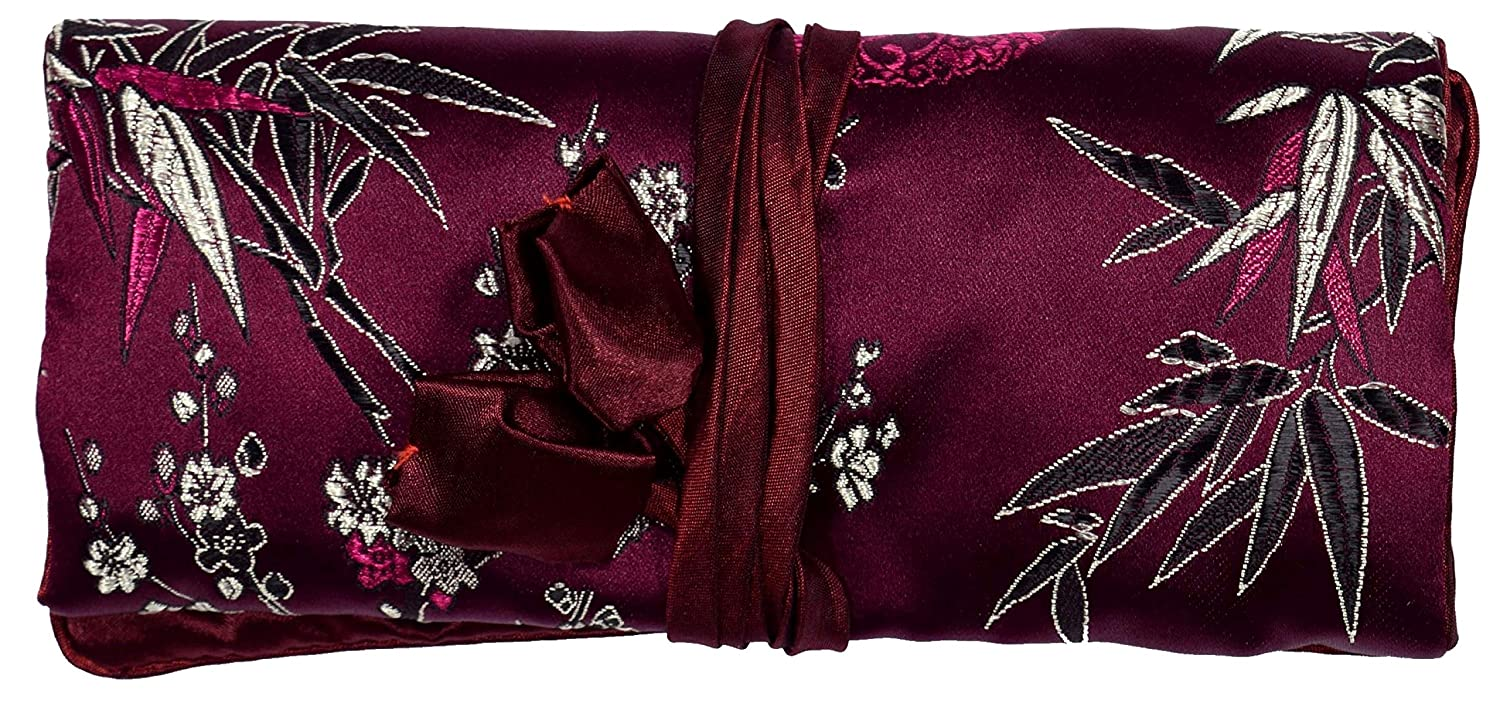 Purple Wine Red Gestickte Floral Seide Schminktasche Schmuckrolle Bees Knees Fashion F77