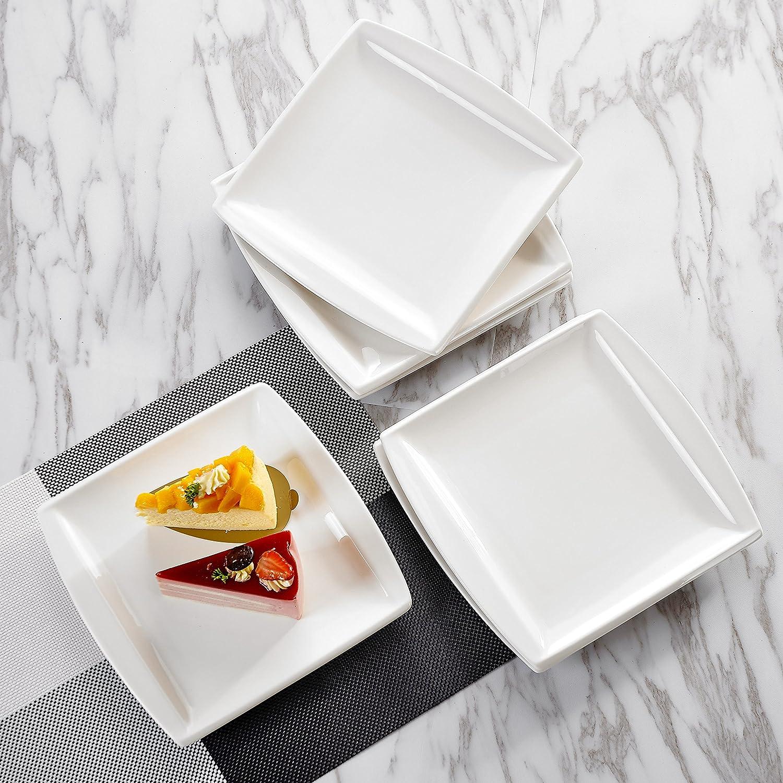 MALACASA Series Blance 6-Piece 8.25 inch Ivory White Porcelain Flat Plates China Ceramic Cream White Dessert Plates