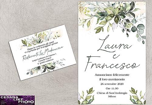 Amazon Partecipazioni Matrimonio.Partecipazioni Matrimonio Personalizzate Inviti Nozze Greenery