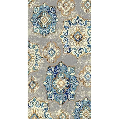5x8 Area Rugs Amazon: Blue And Ivory 5x8 Wool Rugs: Amazon.com