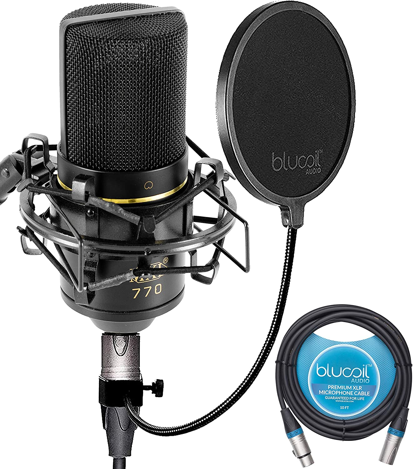 MXL 770 Cardioid Condenser Microphone Bundle with Shock Isolation Mount, Blucoil 10-FT Balanced XLR Cable, and Pop Filter Windscreen