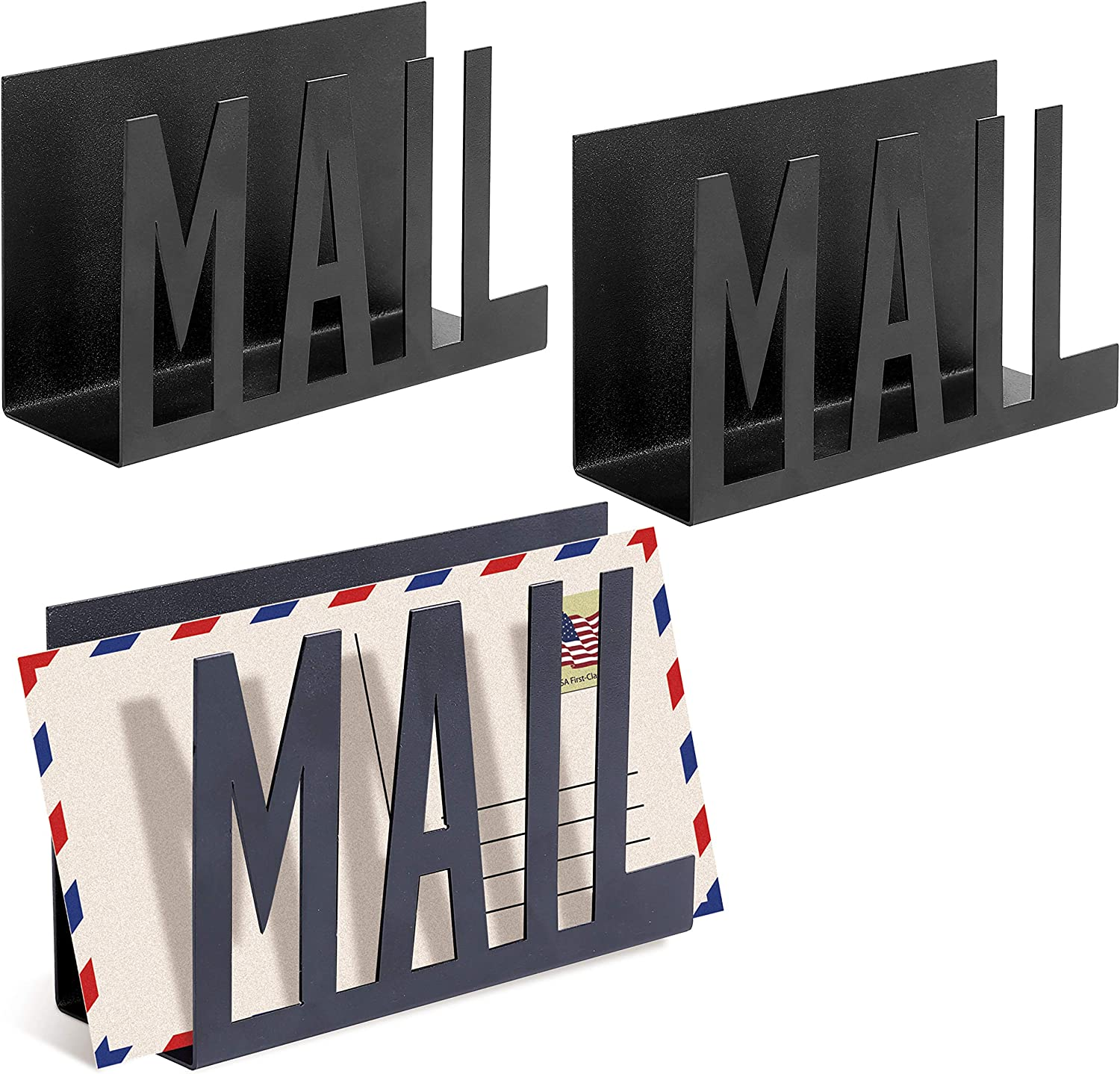 MyGift Set of 3 Black Metal Cutout Design Mail Sorter/Desktop Letter Holder