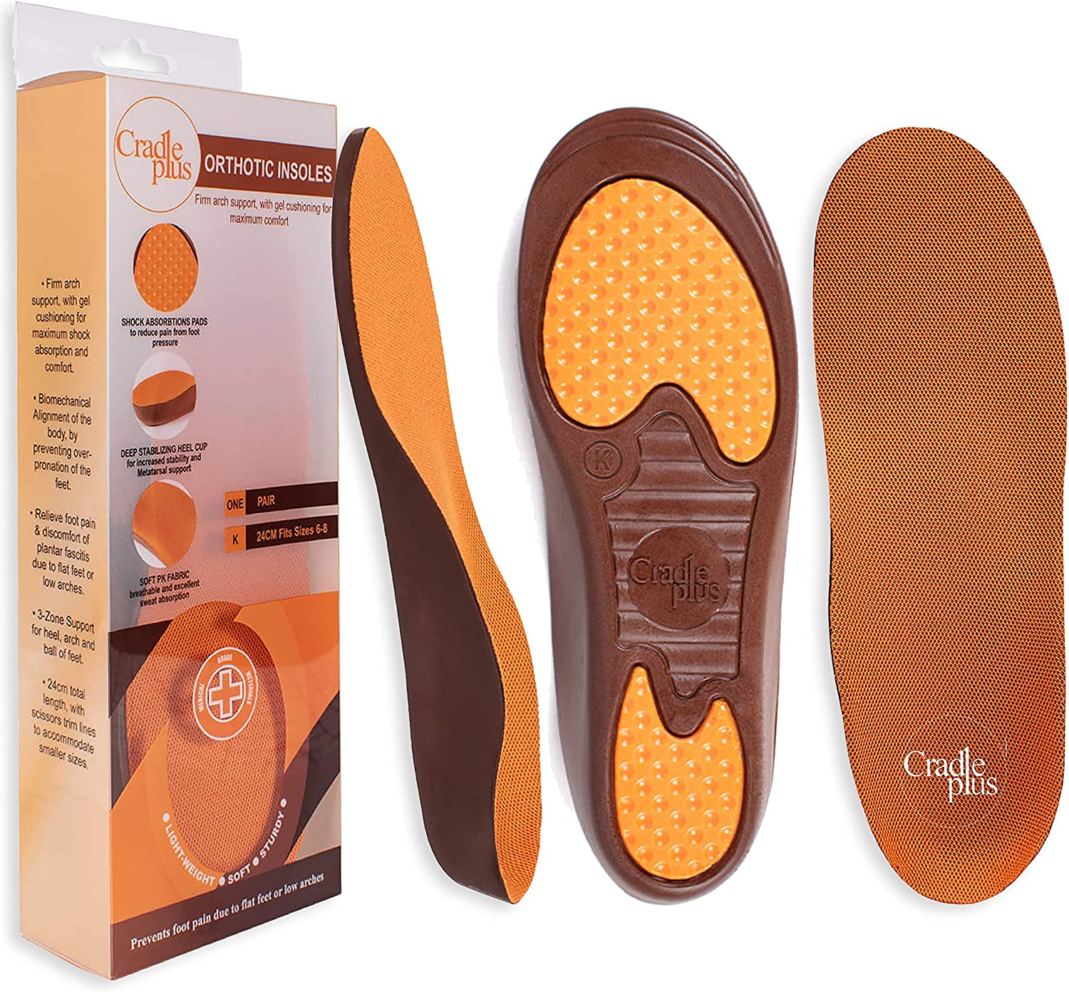 Plantar Fasciitis Insoles for Men and Women | Shoe Inserts for Women | Arch Support Insoles Men | Shoe Inserts for Plantar Fasciitis Women | Trim to Fit Orthotics for High Arch | Size 9-12