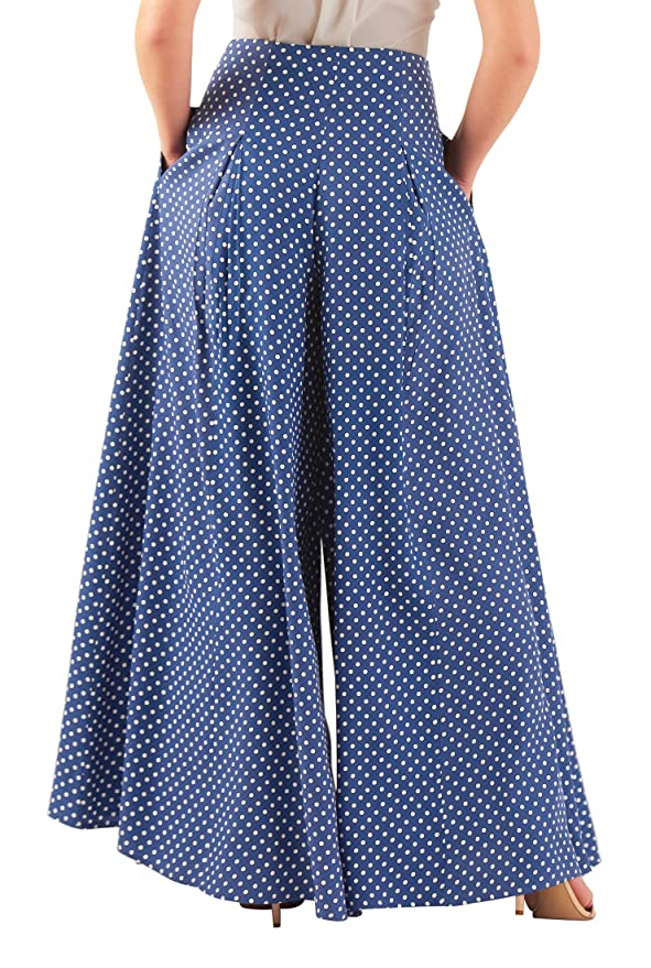 1930s Women's Pants and Beach Pajamas eShakti Womens Polka dot print pleated palazzo pants $67.95 AT vintagedancer.com